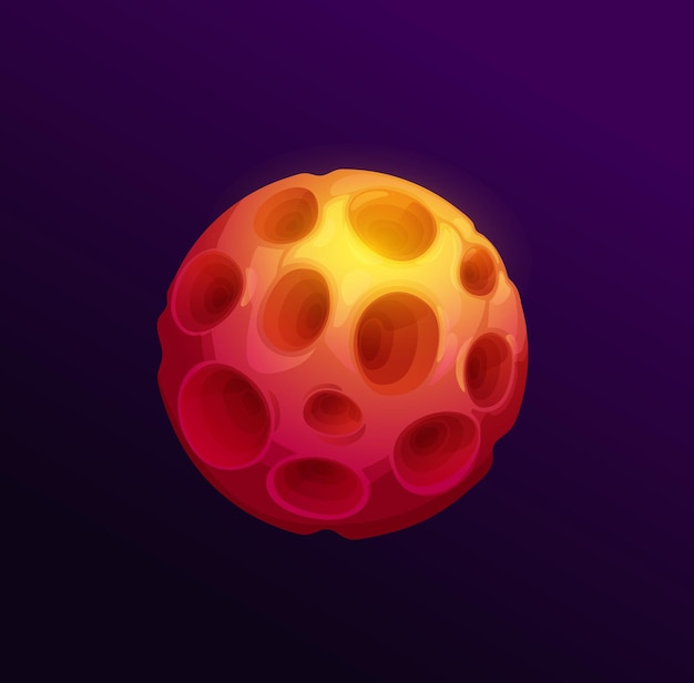Fantastyczna planeta czerwonej lawy, kraterów i kamienistych skał, bajki obcego świata na białym tle kuli ziemskiej kreskówka z salami. wektor asteroida kosmiczna, nienadające się do zamieszkania miejsce fantasy, element gry ui. kosmiczna sfera