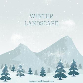 Fantastyczna rocznika krajobraz drzew i gór na zimę