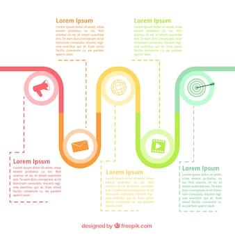 Fantastyczna timeline infografika z kolorowymi ikonami
