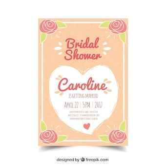 Fantastyczne wesele prysznicem zaproszenia z kwiatów i serca