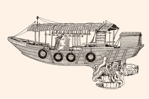 Fantastyczny chiński styl latająca drewniana łódź z silnikiem odrzutowym. szkic liniowy na beżowym tle.