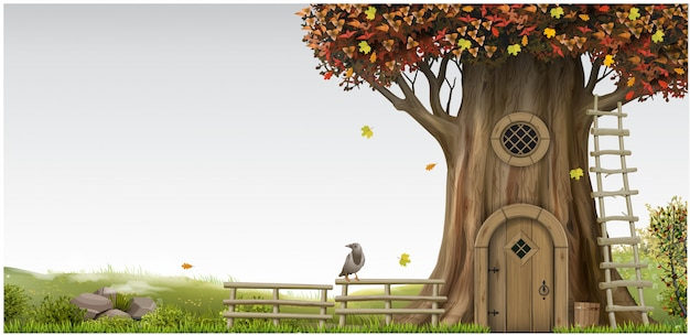 Fantastyczny fantastyczny krajobraz z domkiem na drzewie