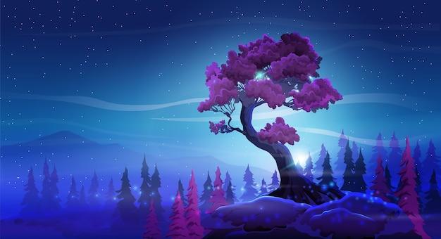 Fantastyczny nocny krajobraz z pięknym zakrzywionym drzewem, górami i drzewem na tle rozgwieżdżonego nieba. bordowe liście i nocne bajeczne kolory.
