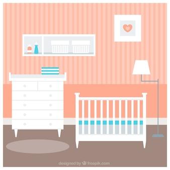 Fantastyczny pokój dla dzieci z białym łóżeczku