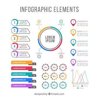 Fantastyczny zestaw płaskich elementów infograficznych