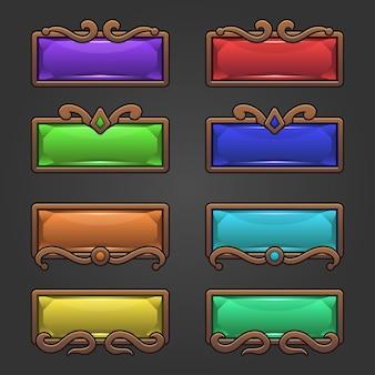 Fantasy design dla przycisków gry w kształcie kwadratu