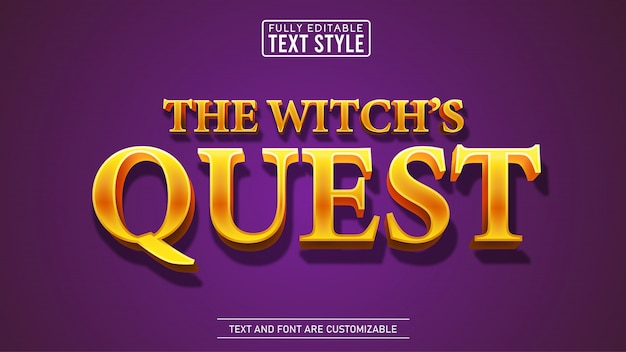 Fantasy golden quest film i tytuł gry edytowalny efekt tekstowy