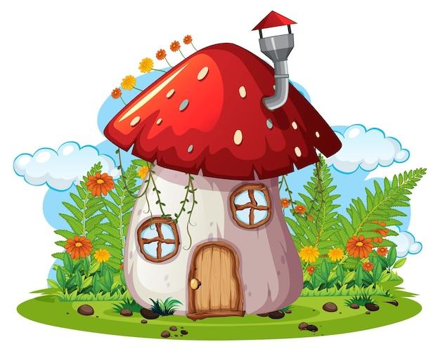 Fantasy grzybowy dom na białym tle