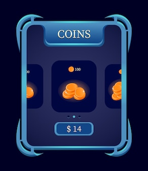 Fantasy gui coin shop menu doładowania dla elementów interfejsu gry