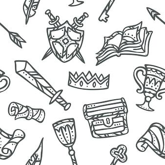 Fantasy kingdom elements seamless pattern