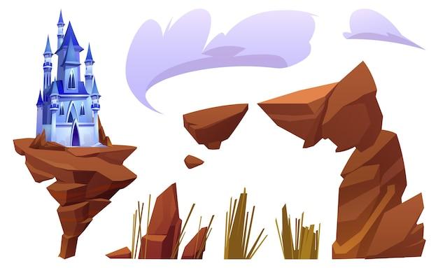 Fantasy niebieski zamek i elementy krajobrazu na białym tle