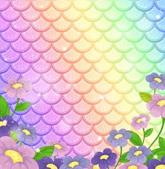Fantasy ryby łuski tło z wieloma kwiatami