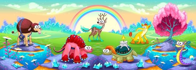 Fantasy zwierząt w krajobrazie marzeń wektor fantasy ilustracji