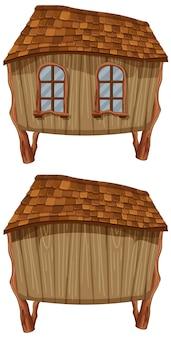 Fantazja drewniana chata na białym tle