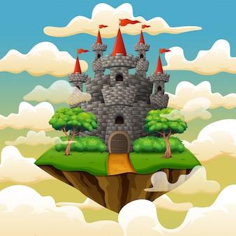 Fantazja latająca wyspa z bajka kasztelem w chmurach