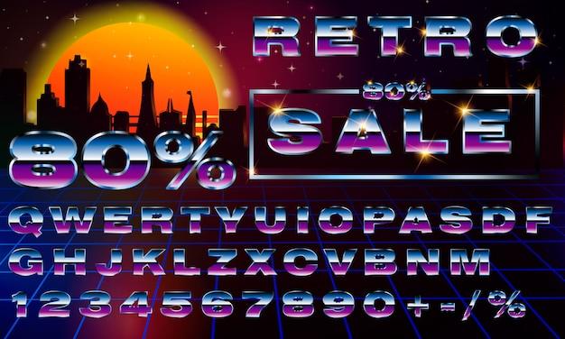 Fantazyjna retrofuturystyczna neonowa czcionka typografii. synthwave vaporwave style.