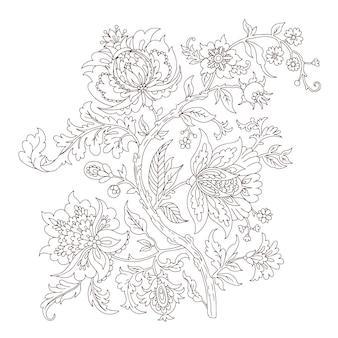 Fantazyjne dekoracyjne kwiatowy wektor oddział lineart