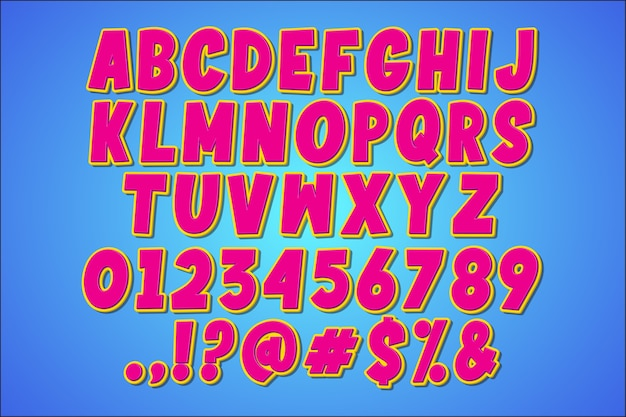 Fantazyjny alfabet retro pop-artu