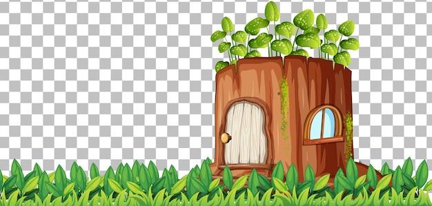 Fantazyjny dom z drewna na przezroczystym tle