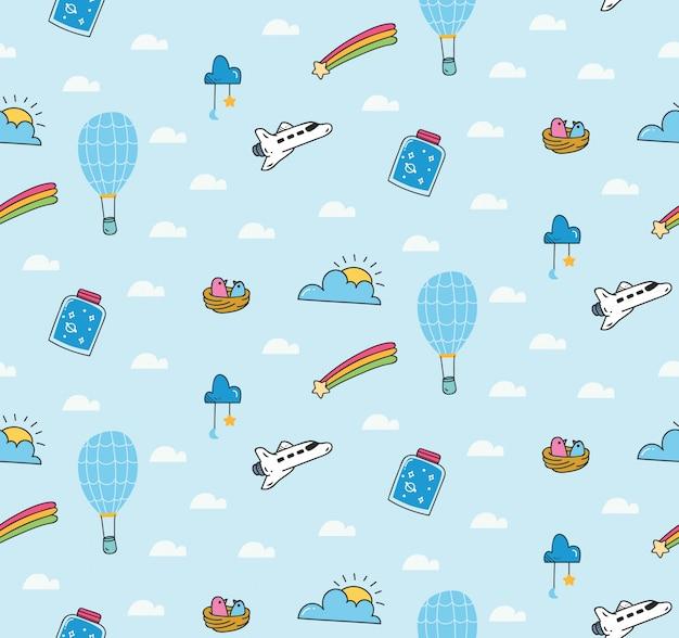 Fantazyjny wzór z balonem i promem kosmicznym