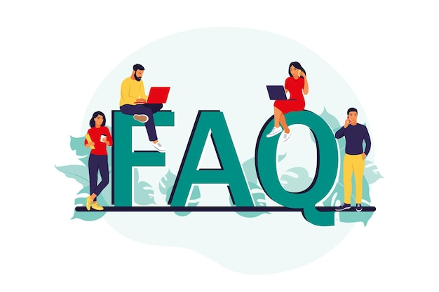 Faq. koncepcja często zadawanych pytań. ludzie zadają pytania i otrzymują odpowiedzi. centrum wsparcia.