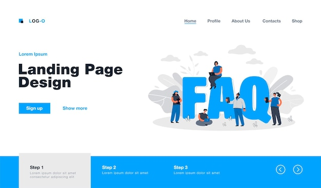 Faq. strona docelowa w płaskim stylu