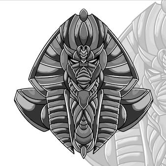 Faraon ilustracja monochromatyczny