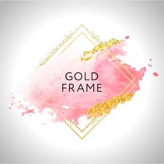 Farba w złotej ramie ręcznie malowany pędzel. idealny na nagłówek, logo i baner sprzedażowy. akwarela