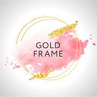 Farba w złotej ramie ręcznie malowany pociągnięcie pędzla. idealny na nagłówek, logo i baner sprzedaży. akwarela