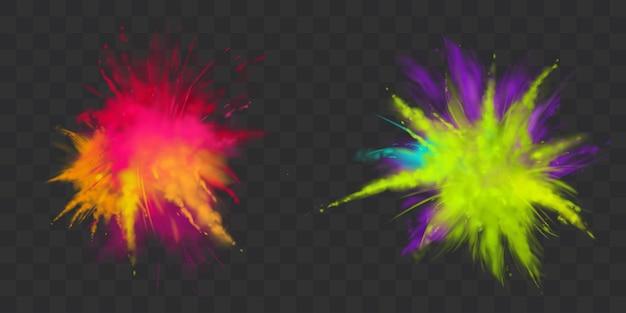 Farby proszkowe holi zestaw na białym tle, barwnik na festiwal