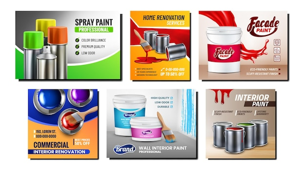 Farby puste pojemniki zestaw plakatów promocyjnych