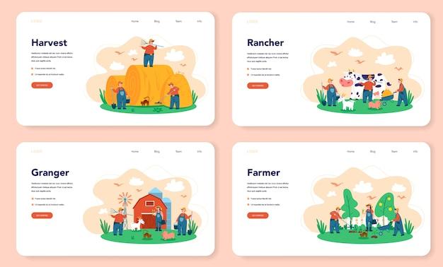 Farma, baner internetowy rolnika lub zestaw strony docelowej. rolnicy pracujący w polu, podlewający rośliny i karmiąc zwierzęta. letni widok na okolicę, rolnictwo. mieszka na wsi.
