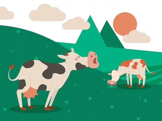 Farma mleczna i stado krów w pięknym letnim krajobrazie. krowa jedząca trawę. ilustracja.