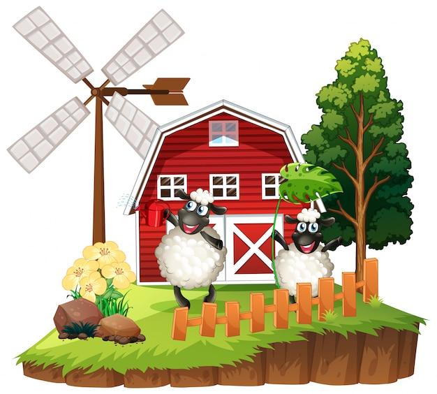 Farma motywu tło ze zwierzętami hodowlanymi