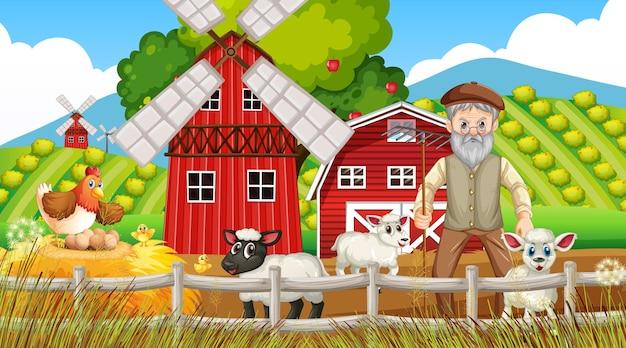 Farma na scenie dziennej ze starym rolnikiem i zwierzętami hodowlanymi