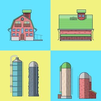 Farma ranczo stodoła magazyn magazyn spichlerz hangar wieża ciśnień architektura budynku zestaw.
