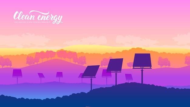 Farma układu słonecznego na krajobraz przyrody