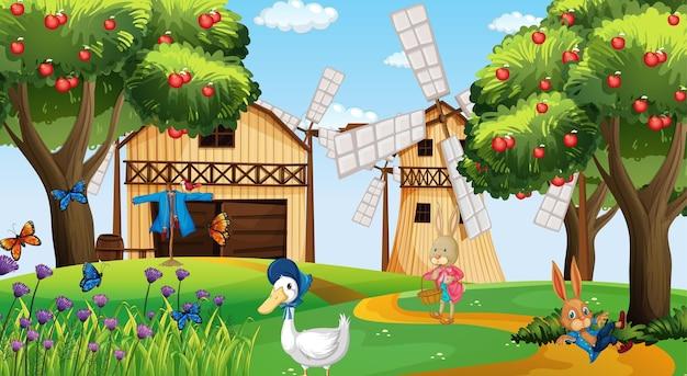 Farma w scenie dziennej z postacią z kreskówki królika i kaczki