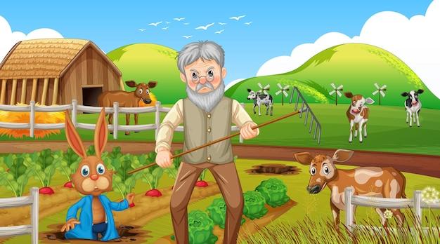 Farma w scenie dziennej ze starym rolnikiem i zwierzętami gospodarskimi