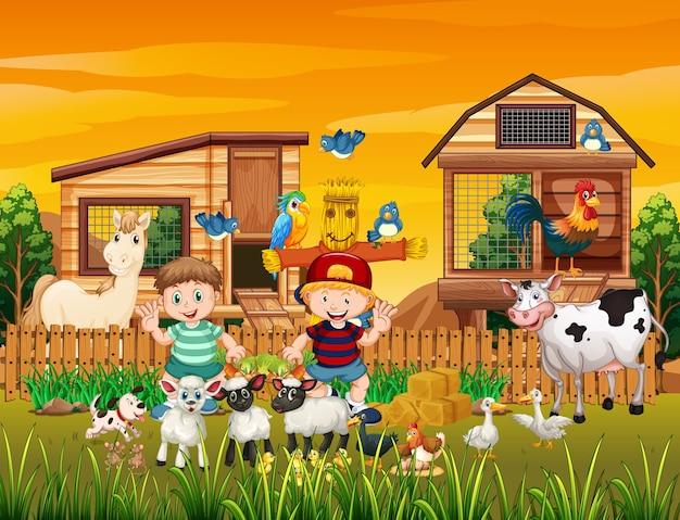 Farma w scenie przyrody z farmą zwierząt