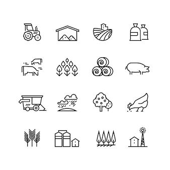 Farma zbiorów liniowe wektorowe ikony. piktogramy agronomiczne i rolnicze. symbole rolnicze