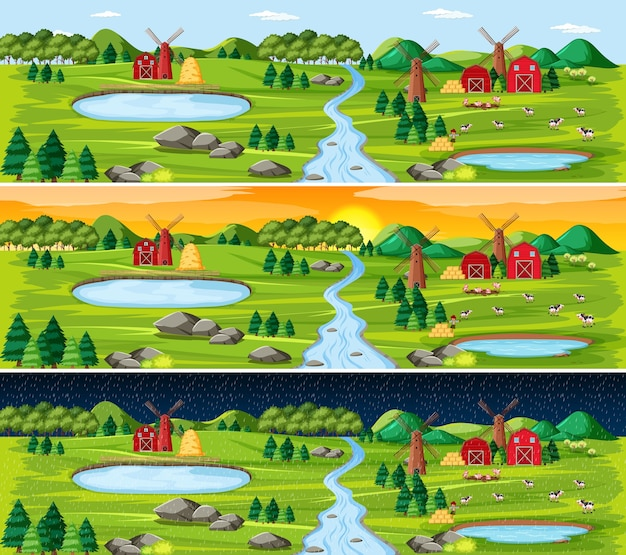 Farma ze stodołą i wiatrakiem w krajobrazie przyrody o różnych porach dnia