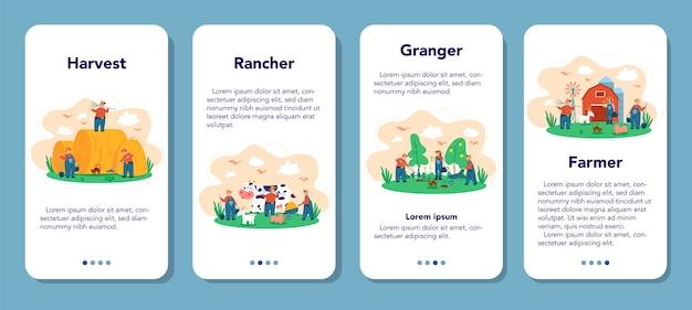 Farma, zestaw banerów aplikacji mobilnej rolnika. rolnicy pracujący w polu, podlewający rośliny i karmiąc zwierzęta. letni widok na okolicę, rolnictwo. mieszka na wsi.