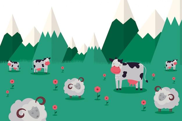 Farma zwierząt, pasą się zwierzęta w górzystej miejscowości kolekcji ilustracji. krowa i owca z rogami baranimi z czystej wełny.