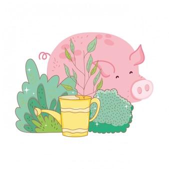 Farma zwierząt świnia z ogrodem