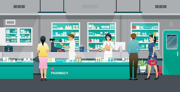 Farmaceuci płci męskiej i żeńskiej sprzedający leki publicznie.