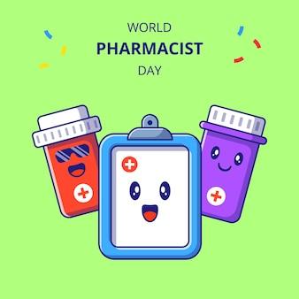 Farmaceuta dzień ładny pokładzie i postaci z kreskówek butelki leku. zestaw maskotka leków.