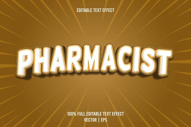 Farmaceuta edytowalny efekt tekstowy 3-wymiarowy tłoczony styl kreskówek