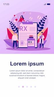 Farmaceuta i pacjenci przedstawiający receptę rx. lekarz zalecający leki przeciwbólowe. ilustracja do farmacji, leków, chorób, koncepcji terapii