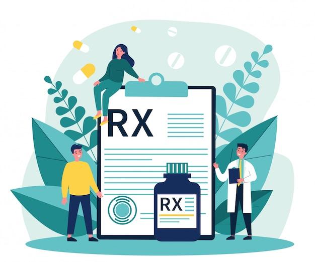 Farmaceuta i pacjenci przedstawiający receptę rx